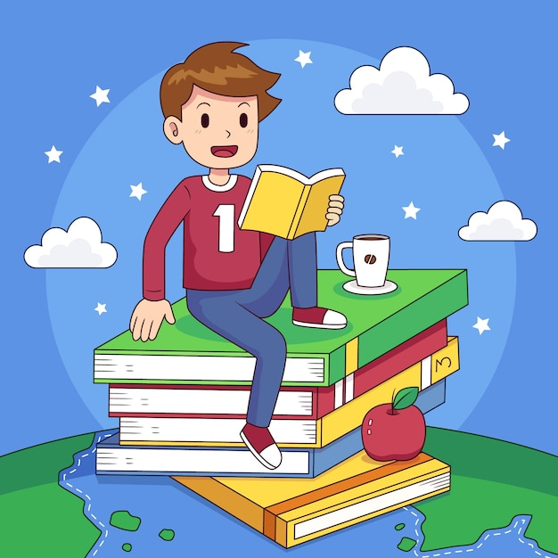 Hand drawn world book day illustration with man reading Free Vector