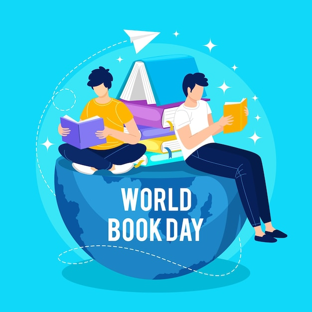 読書の人々と手描きの世界図書の日のイラスト 無料ベクター