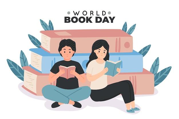 人々が読んでいる手描きの世界図書の日のイラスト 無料ベクター