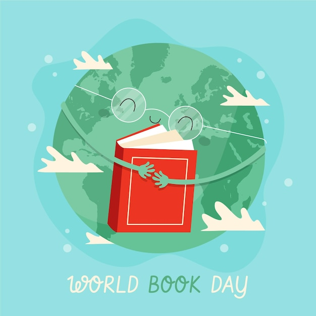 惑星ハグ本と手描きの世界図書の日のイラスト 無料ベクター
