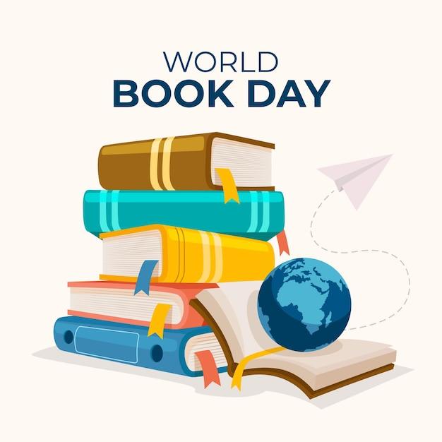 本のスタックと手描きの世界図書の日のイラスト 無料ベクター