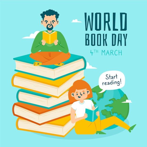 手描きの世界図書の日のイラスト Premiumベクター