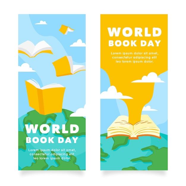 手描きの世界図書の日の垂直バナー Premiumベクター