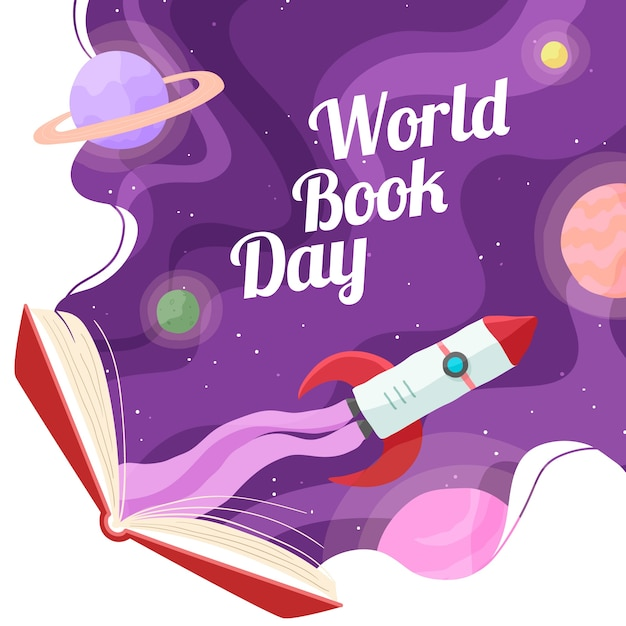 Hand drawn world book day Free Vector