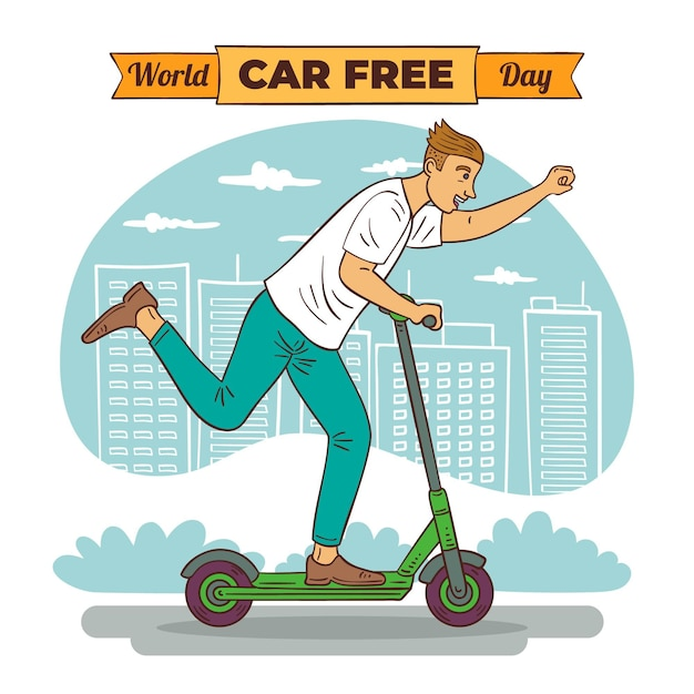 Hand drawn world car free day Free Vector