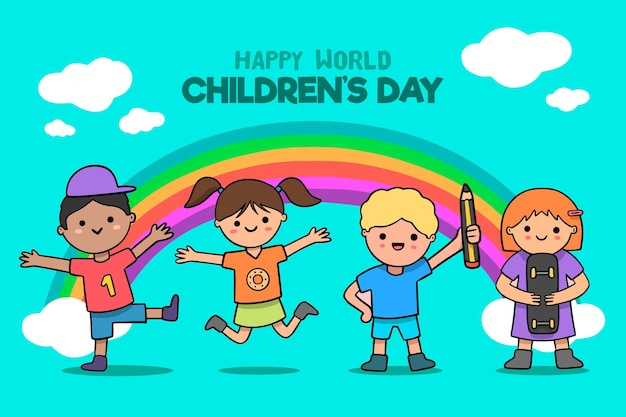 Hand drawn world children's day illustration Free Vector