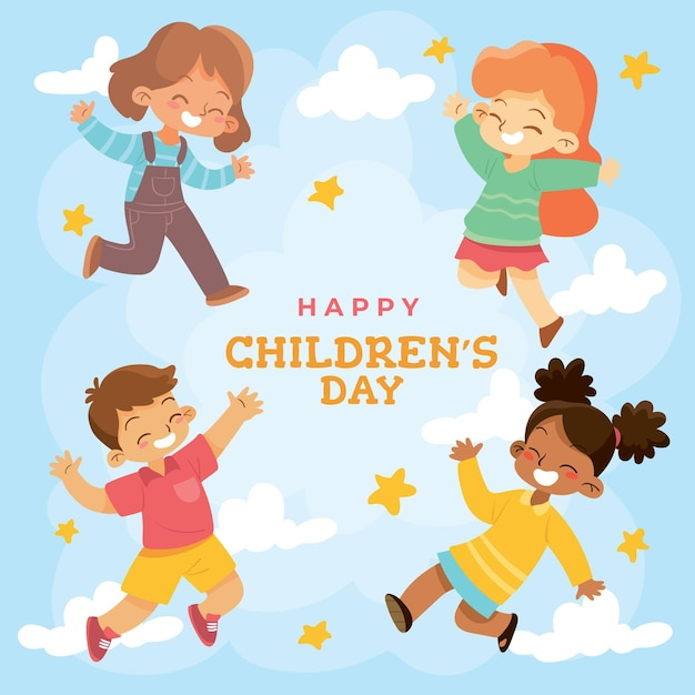 Hand drawn world childrens day concept Free Vector
