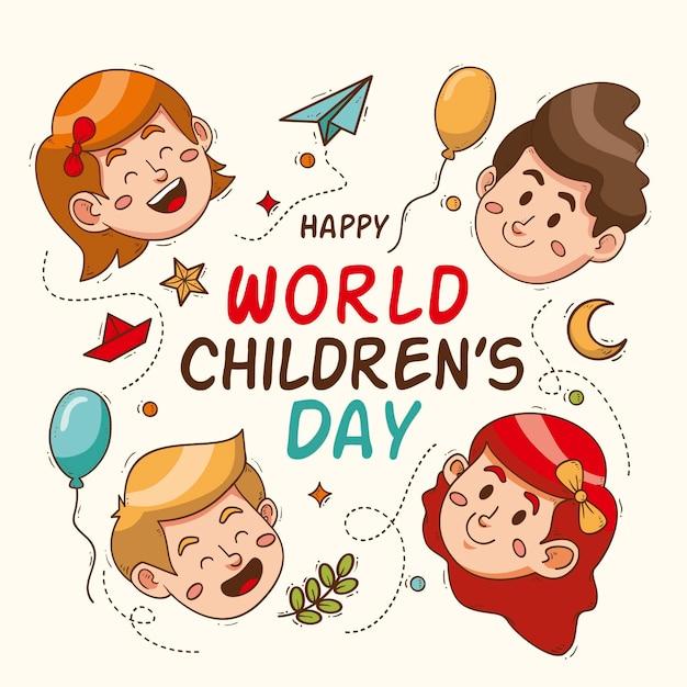 Concetto di giornata mondiale dei bambini disegnati a mano Vettore gratuito