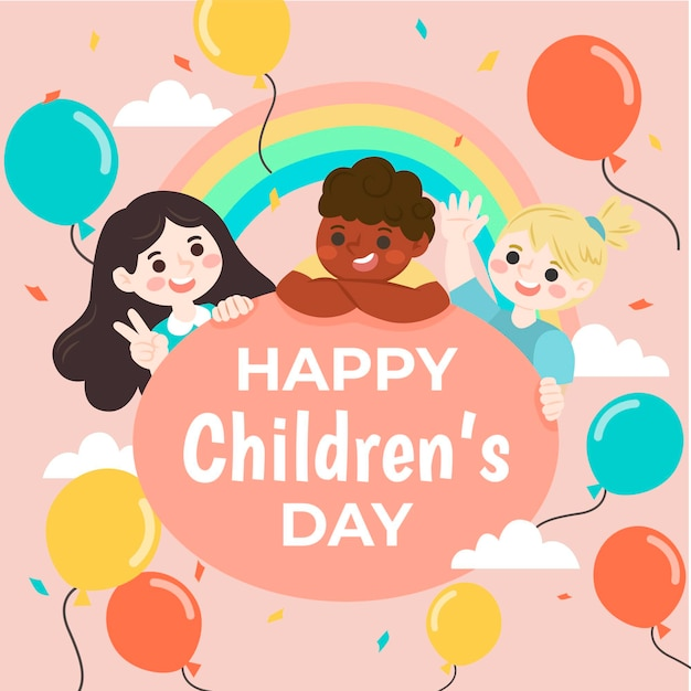 Hand drawn world childrens day Free Vector