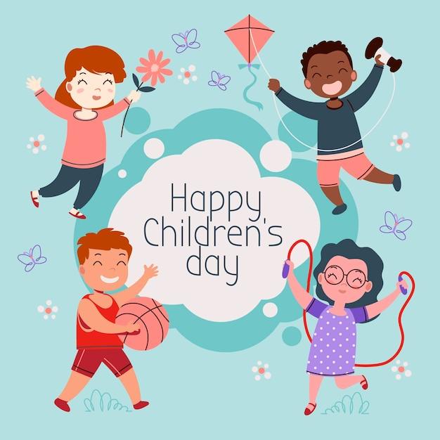 Giornata mondiale dei bambini disegnati a mano Vettore gratuito