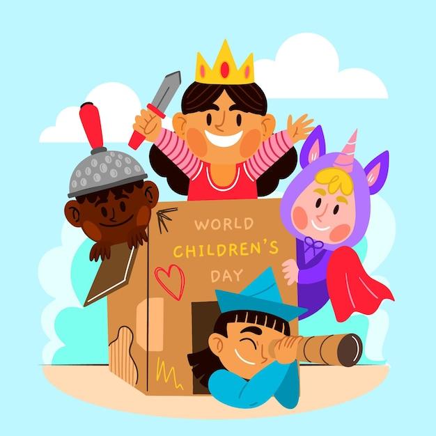 Ручной обращается всемирный день защиты детей Бесплатные векторы