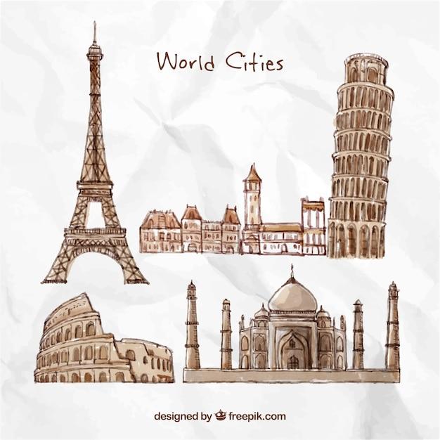 Ручной обращается города мира Бесплатные векторы