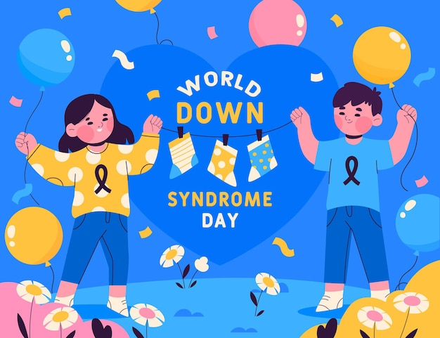 Нарисованная от руки иллюстрация всемирного дня синдрома дауна с детьми и воздушными шарами Бесплатные векторы