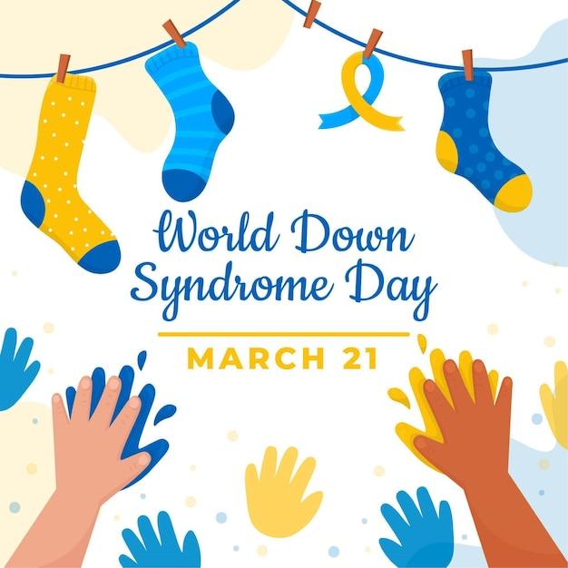 손과 양말로 손으로 그린 세계 다운 증후군의 날 그림 프리미엄 벡터