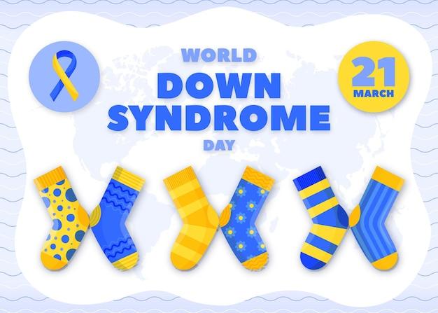 손으로 그린 세계 다운 증후군의 날 일러스트 양말 무료 벡터