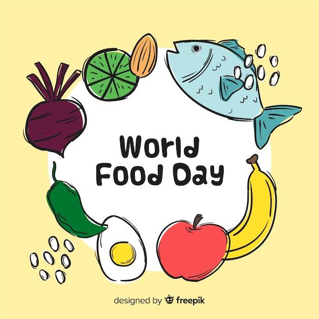 Hand drawn world food da Free Vector
