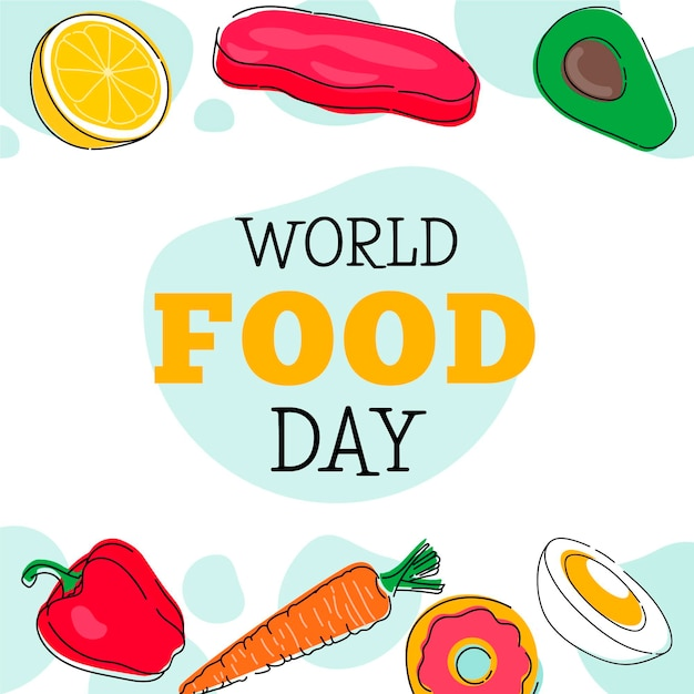 Sfondo di giornata mondiale dell'alimentazione disegnata a mano Vettore gratuito