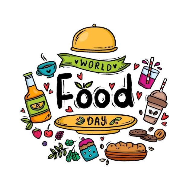 Нарисованная рукой концепция всемирного дня еды Бесплатные векторы