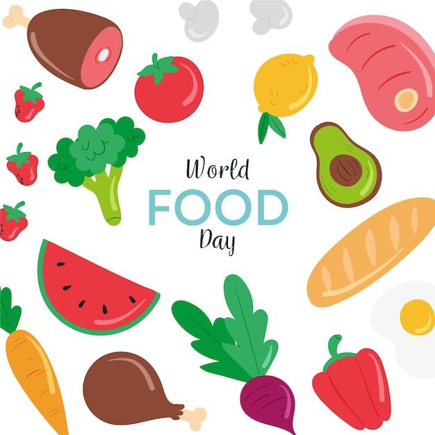 手描き世界食日イラスト 無料ベクター