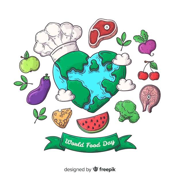 Hand drawn world food day with earth as chef Free Vector