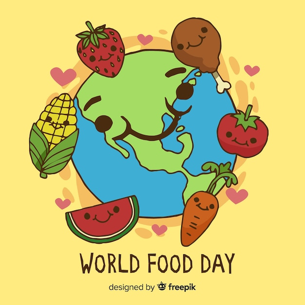 Hand drawn world food day with meat and veggies Free Vector