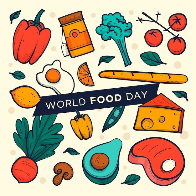 手描きの世界食糧の日 無料ベクター