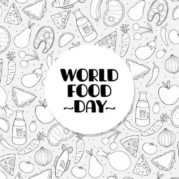 손으로 그린 세계 식량의 날 프리미엄 벡터