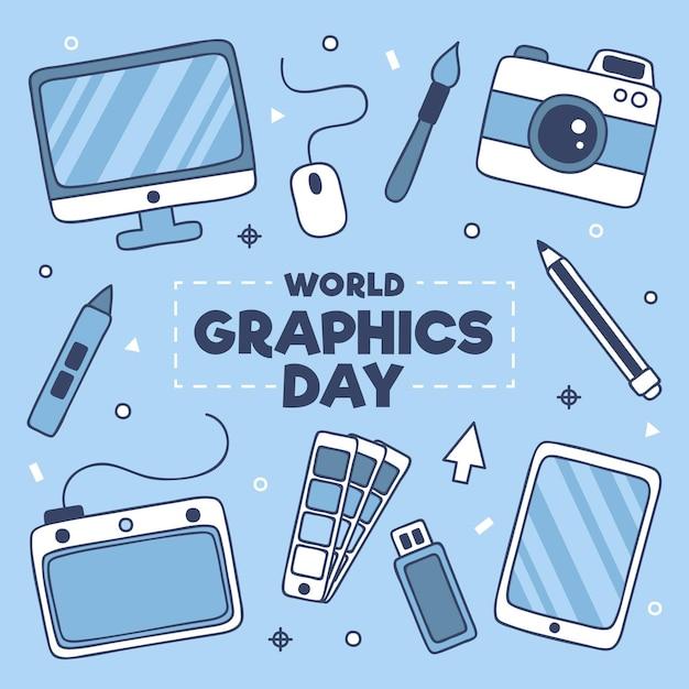 Hand drawn world graphics day illustration Free Vector