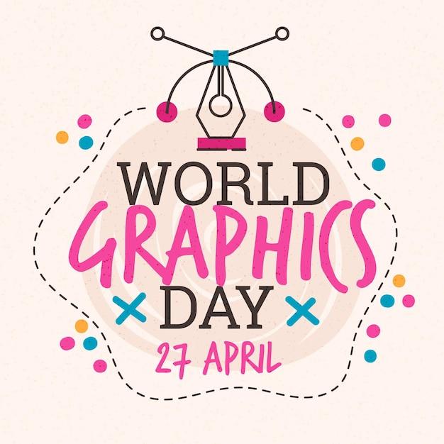 手描きの世界のグラフィックの日のイラスト 無料ベクター