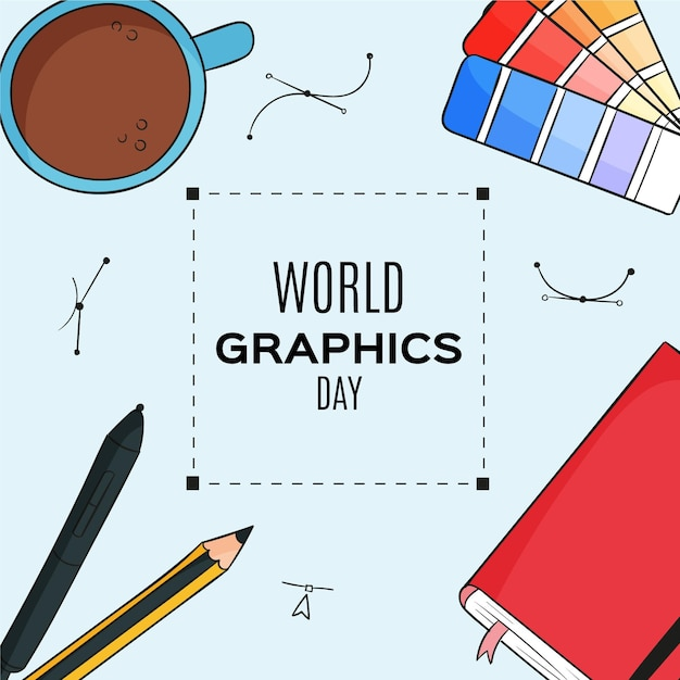 Hand drawn world graphics day illustration Free Vector