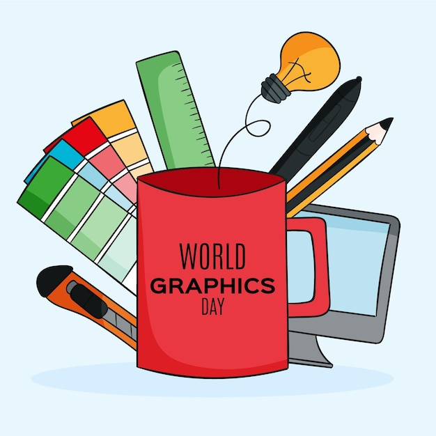 Hand drawn world graphics day illustration Premium Vector