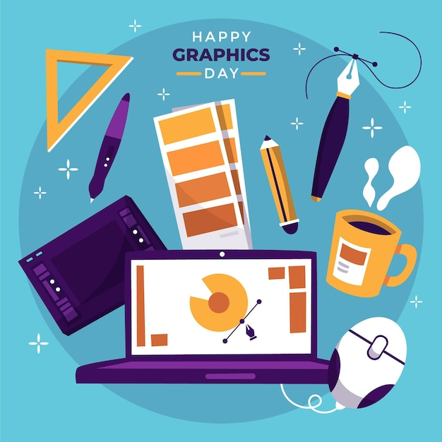 Hand drawn world graphics day illustration Premium Vector
