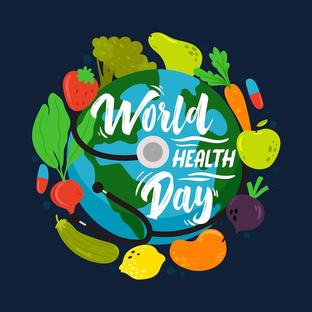 Hand-drawn world health day concept Free Vector