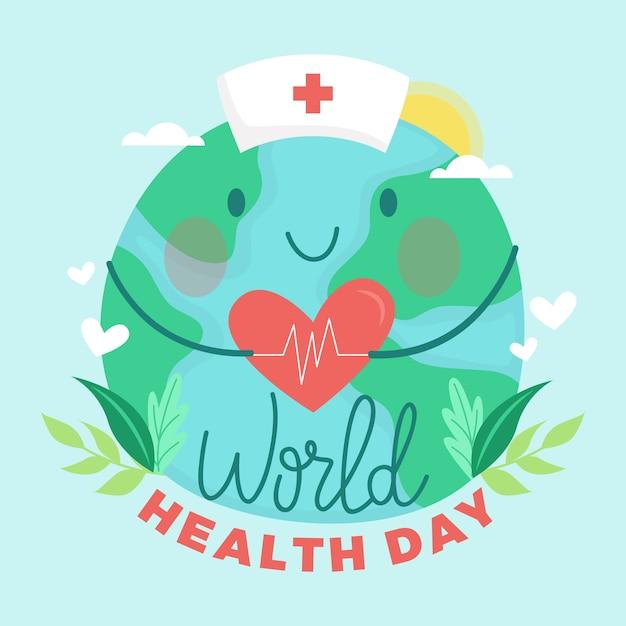 Hand-drawn world health day design Free Vector