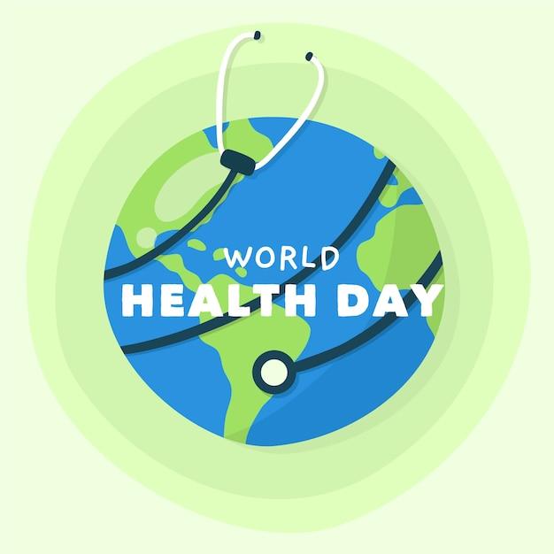 地球を取り巻く手描き世界保健デー聴診器 無料ベクター
