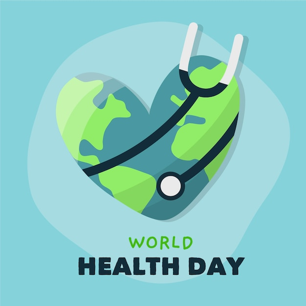Hand drawn world health day with stethoscope and earth Free Vector