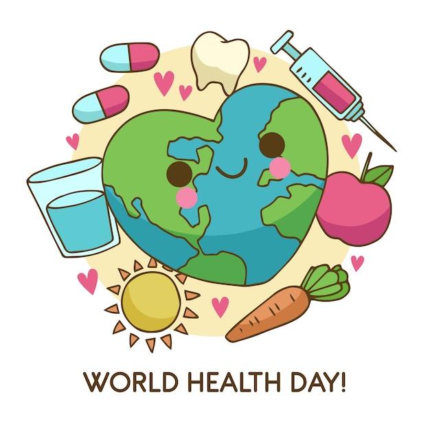 野菜と手描きの世界保健デー 無料ベクター