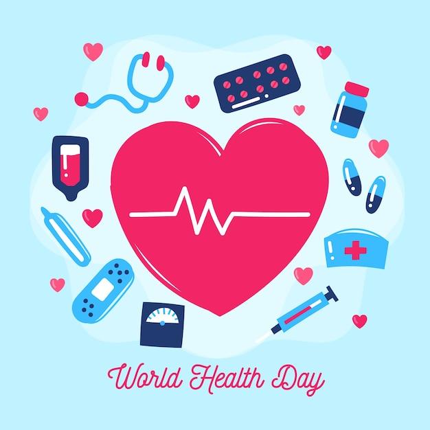 Hand drawn world health day Free Vector