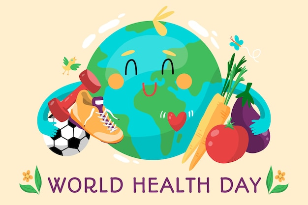 Hand-drawn world health day Free Vector