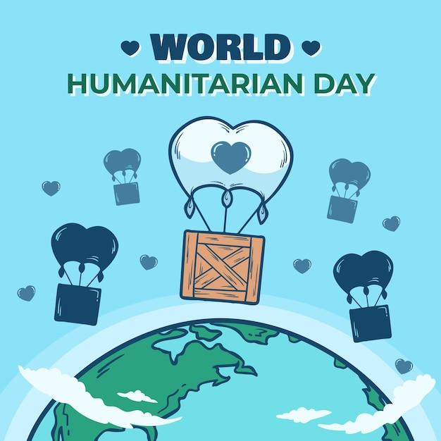 Concetto di giornata umanitaria mondo disegnato a mano Vettore gratuito