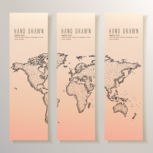 Hand drawn world map banners Vector | Free Download