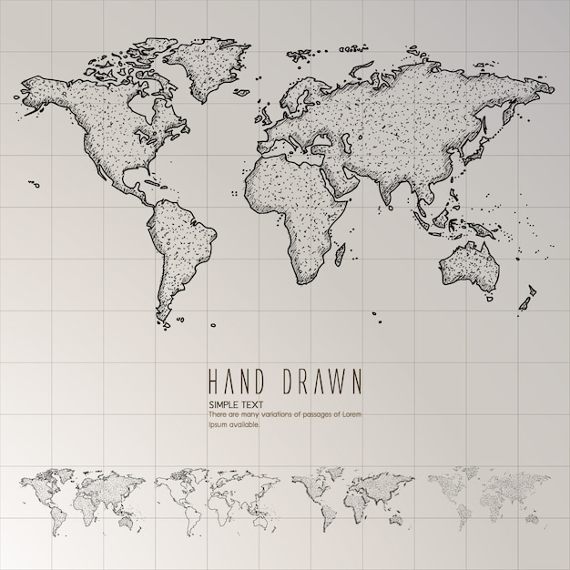 Hand Drawn Map Of The World.Hand Drawn World Map Vector Free Download