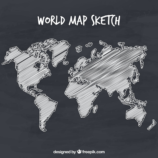 Hand-drawn world map Vector | Free Download