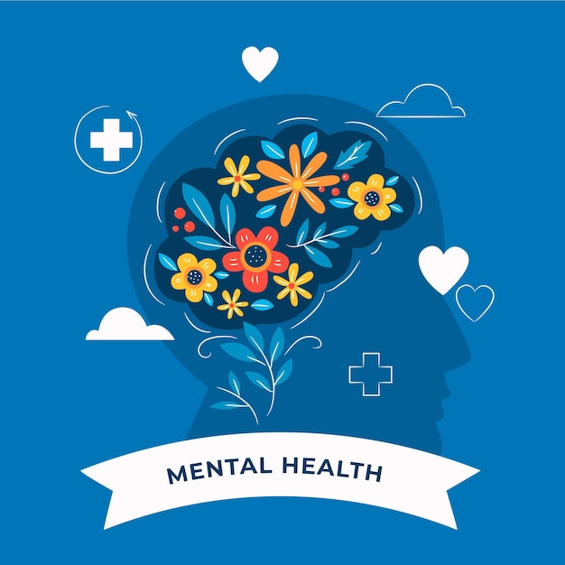 Hand drawn world mental health day with brain and flowers Free Vector