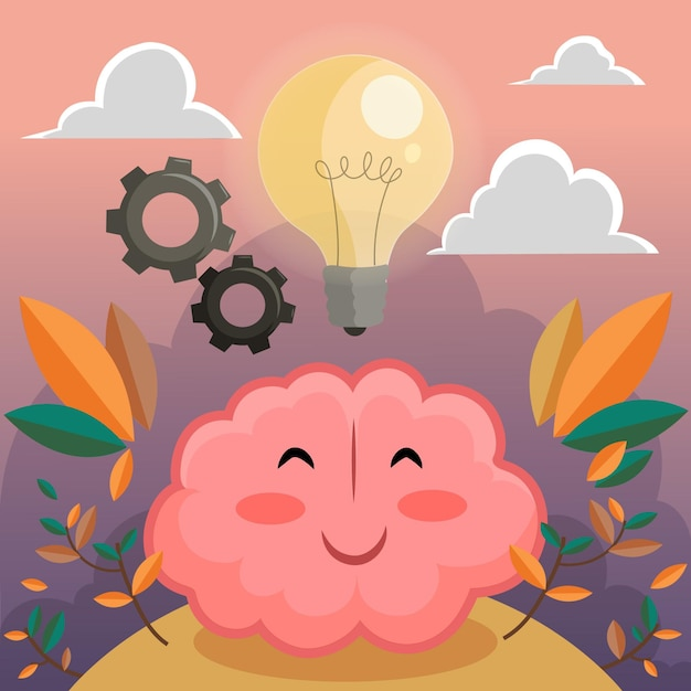 Hand drawn world mental health day with brain and lightbulb Free Vector
