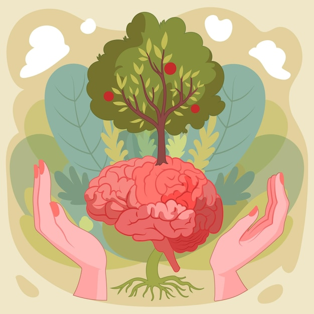 Hand drawn world mental health day with brain and tree Free Vector
