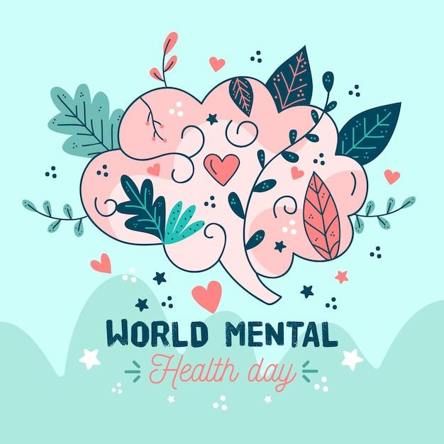 Hand drawn world mental health day with brain Premium Vector