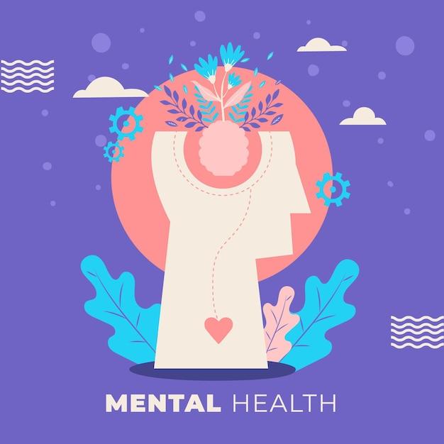 手描きの頭と植物で世界精神保健デー Premiumベクター