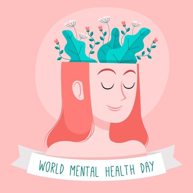 手描きの女性の頭と植物の世界精神保健デー Premiumベクター