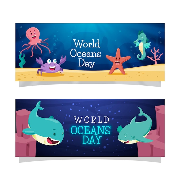 Hand drawn world oceans day banner Free Vector